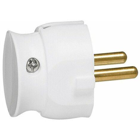 Fiche plastique extra-plate 2p-16 a male blanc
