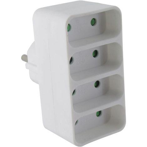 Fiche quadriplite droite 4 x 2P Dhome - Blanc