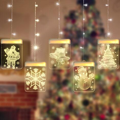 Fiesta de Navidad LED cortina de la secuencia de las luces de la decoracion 3D USB efecto visual Desarrollado por cuarto casero cubierta dormitorio decoracion de la ventana, 4.9ft 2.3ft *, muneco de nieve de Navidad (de luz en color)