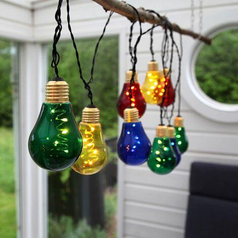 FIESTA guirnalda solar de 10 bulbos multicolores
