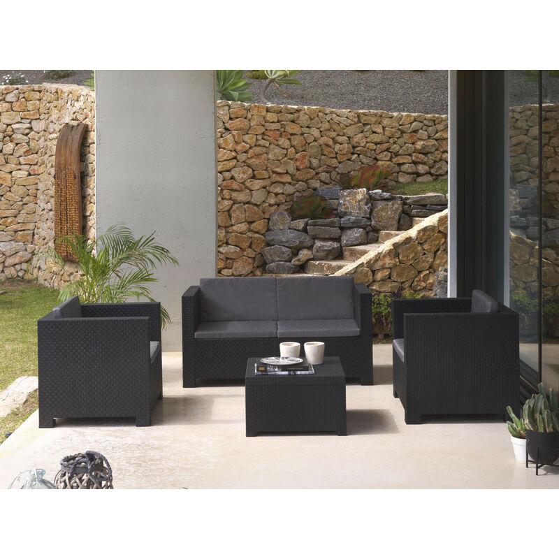 Figari - Salon bas de jardin 4 places - en résine tressée injectée - noir avec coussins gris Couleur - Noir - Noir / Gris
