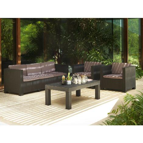 Figari - Salon bas de jardin 5 places - en résine tressée injectée - noir avec coussins gris Couleur - Noir - Noir / Gris