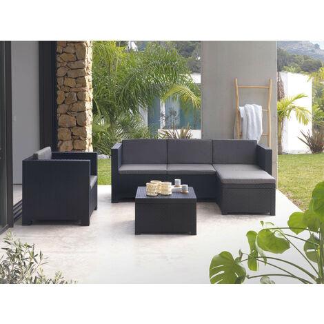 Figari - Salon bas de jardin 5 places - en résine tressée injectée - noir avec coussins gris - pouf modulable Couleur - Noir - Noir / Gris