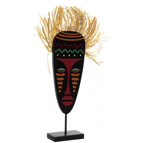 Figura Africana de Madera con Base, Escudo/Mascara Masái. 2 modelos a elegir, Original/Africano 20x5x40 cm B