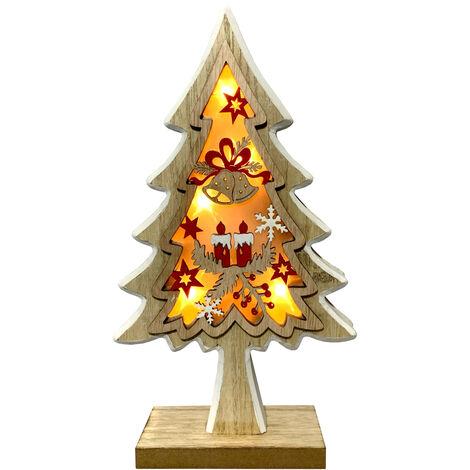 Figura árbol navidad color madera clara con luz (Electro DH 96032)