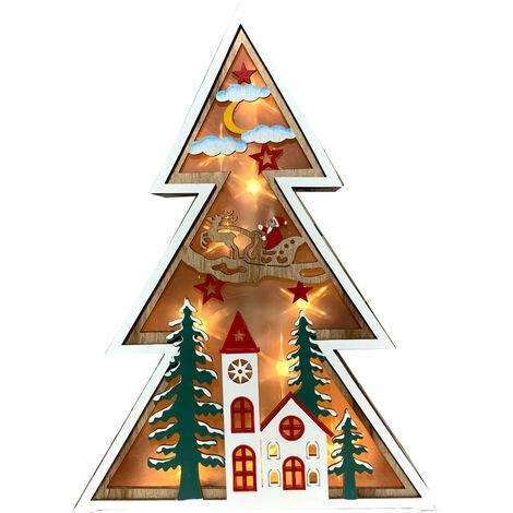 Figura arbol navidad color madera grande con luz (Electro DH 96034)