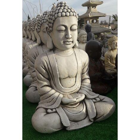 Figura Buda Éxito para el jardín decorativa 60cm. hormigón-piedra Natural musgo