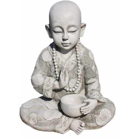 Figura Buda Sabiduria para el jardín decorativa 37cm. hormigón-piedra Natural Musgo