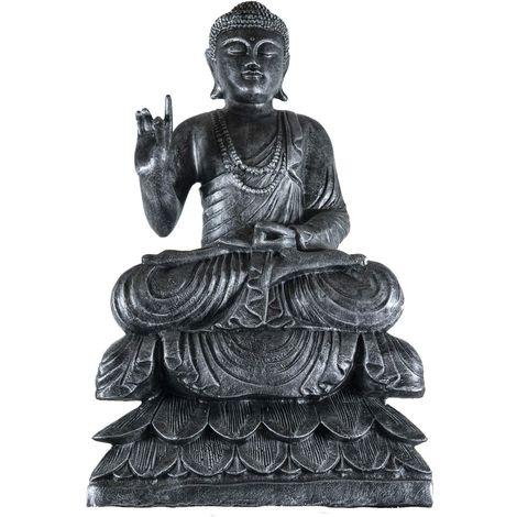 Figura buda tailandés bendiciendo en color plata | 103 cm de alto