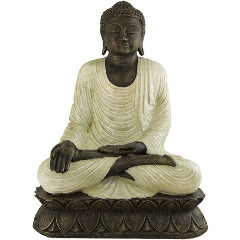 Figura buda tailandés meditando en color blanco rústico | 90 cm de alto