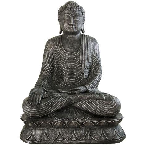 Figura buda tailandés meditando en color plata | 90 cm de alto