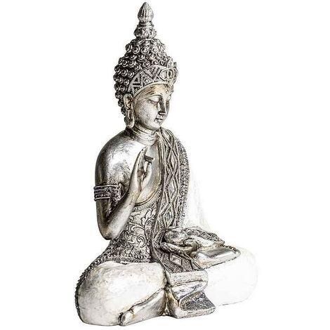 Figura BUDHA plata sentado 25 cm Burkina