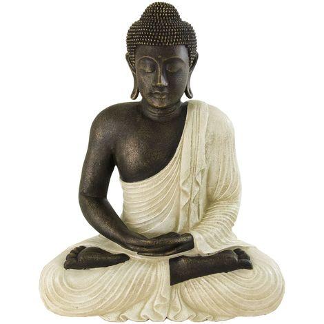 Figura de buda decoración en color blanco rústico | 58 cm de alto
