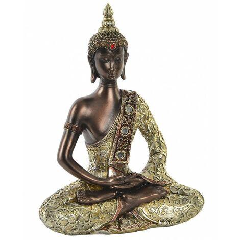 Figura de Buda dorado para decoración interior. Diseño Zen - Wabi Sabi 20 x 27 cm- Hogar y más.