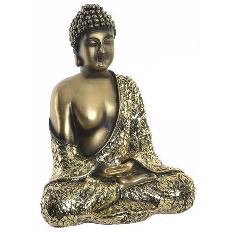 Figura de Buda sentado de color dorado para jardín o zona de relajación. Wabi Sabi 16x20.5 cm - Hogar y Mas