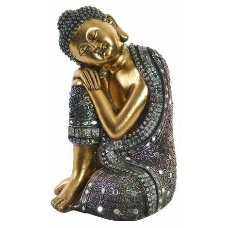 Figura de Buda sentado en color dorado para jardín/zona de relajación. Wabi Sabi 15 x 24 cm - Hogar y Mas
