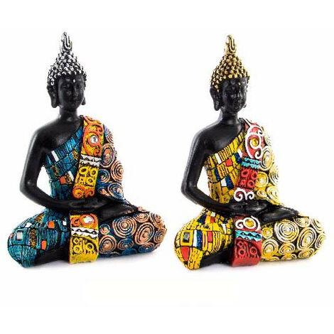 Figura de Buda Sentado Original en Resina 2 Colores 16x10,5x6,5 cm Azul