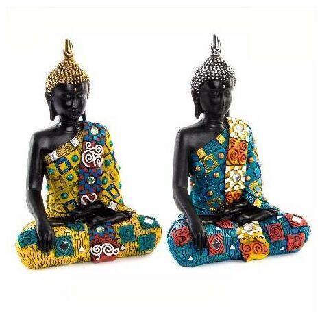 Figura de Buda Sentado Original en Resina 2 Colores Azul