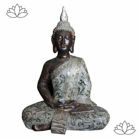 Figura de Buda Wabi Sabi de poliresina envejecido. Hogar y Más