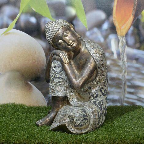 Figura de Buda Zen Mística de poliresina efecto envejecido. Hogar y Más