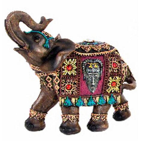 Figura de elefante étnico de Resina. 3 Colores Marrón