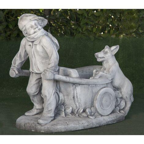 Figura de hormigón clásica Mod. Niño con Carro y Perro 43x70x65cm.