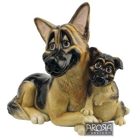 Figura de Piedra Ceramica Maciza Pastor Alemán & Pup -