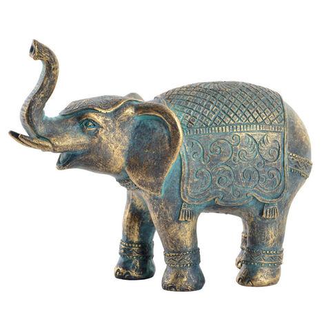 Figura de Resina, Elefante de la Buena Suerte, Dorado/Azul, con Acabado Envejecido, 15x6,5x12 cm - Hogar y Más