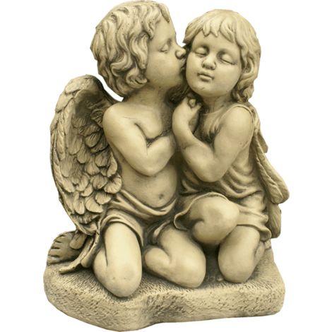 Figura decorativa Angel Amor en hormigón-piedra para el jardín exterior 37x46cm.