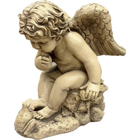 Figura decorativa Angel con Rana en hormigón-piedra para el jardín exterior 38x46cm.