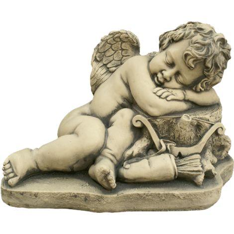 Figura decorativa Angel Cupido en hormigón-piedra para el jardín exterior 42x30cm.