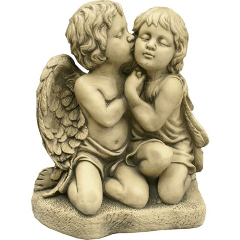 Figura decorativa Angel Dormido en hormigón-piedra para el jardín exterior 40x36cm.