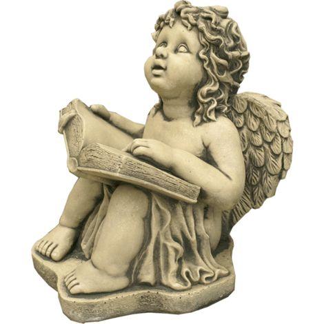 Figura decorativa Angel Leyendo en hormigón-piedra para el jardín exterior 30x36cm.
