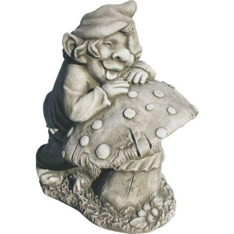 Figura decorativa jardín Duende 39cm. hormigón-piedra color