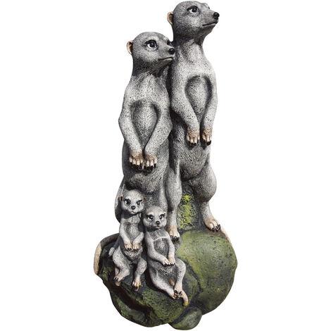 Figura decorativa jardín Suricatos 55cm. hormigón-piedra color