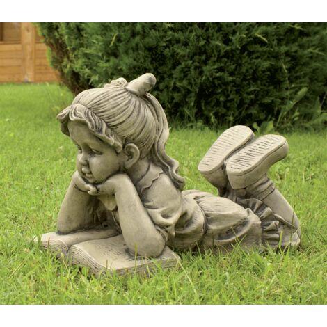 Figura decorativa Niña Leyendo en hormigón-piedra para el jardín exterior 50x36cm.