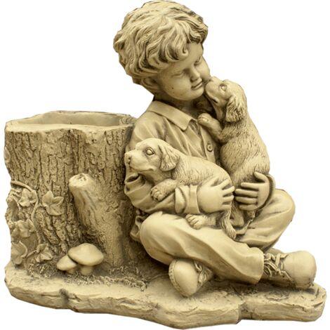 Figura decorativa Niño con Perro en hormigón-piedra para el jardín exterior 56x50cm.