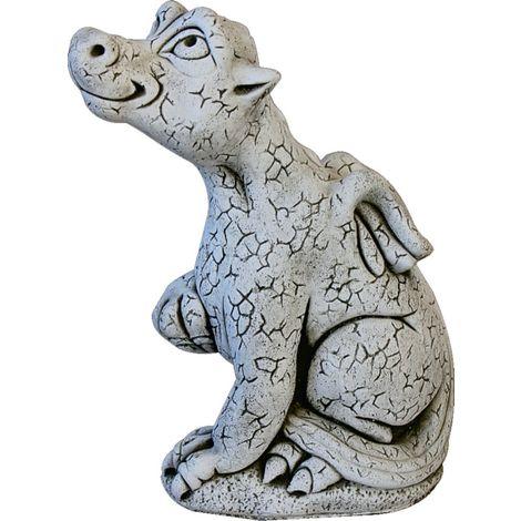 Figura dragón de hormigón-piedra para jardín o exterior 46cm.