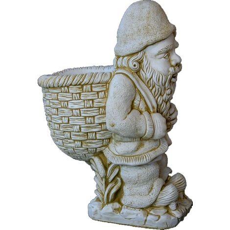 Figura Enano con Saco de hormigón-piedra para jardín o exterior 76cm.