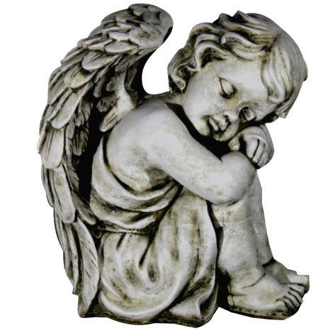 Figura estatua Angel de hormigón-piedra para jardín o exterior 36cm.