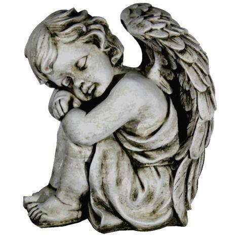 Figura estatua Angel de hormigón-piedra para jardín o exterior 36cm. I