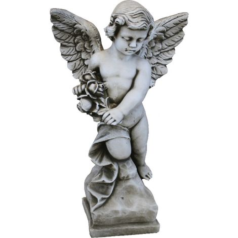 Figura estatua Angel de hormigón-piedra para jardín o exterior 55cm.