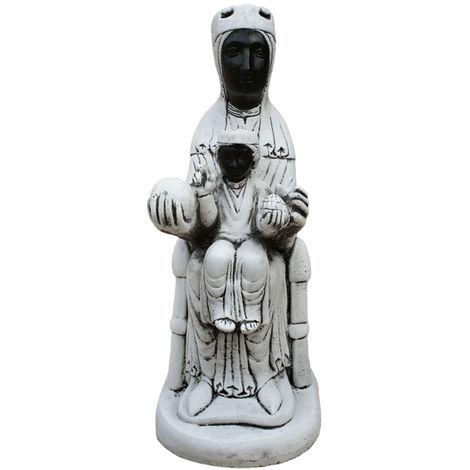 Figura estatua exterior Virgen Montserrat para jardín en hormigón-piedra 25x60cm.