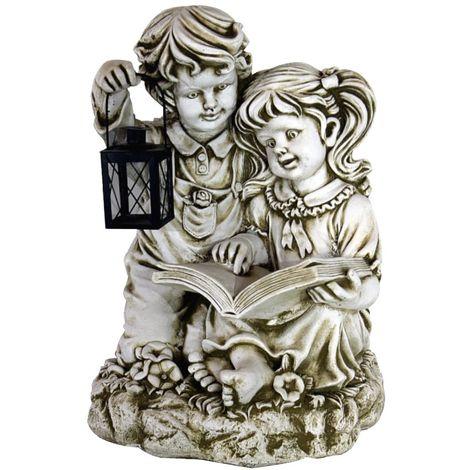 Figura estatua Niños Leyendo de hormigón-piedra para jardín o exterior 50cm.