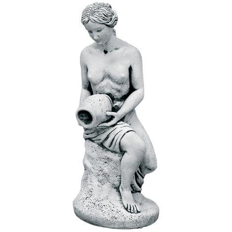 Figura jardín Surtidor Fuente estanque en hormigón-piedra Venus Jarra 26x62cm.