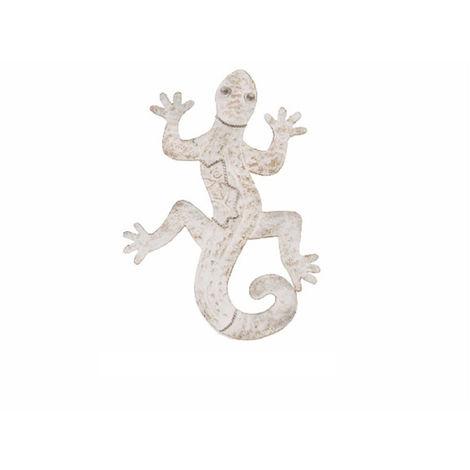 Figura lagarto de metal - Decoración de pared (37x29x3 cm). Gris