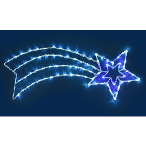 Stella Luminosa Di Natale.Figura Luminosa Stella Cometa Effetto Ghiacciato 96 X H 37 Cm 88 Led Bianco Freddo E Blu Con Controller 3 Velocita Figure Di Natale 3d