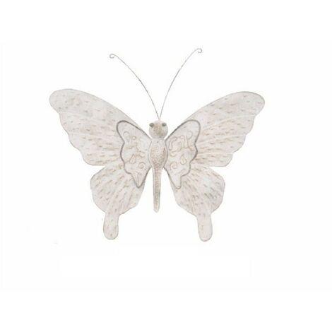 Figura mariposa de metal - Decoración de pared (55x46x3 cm). Gris