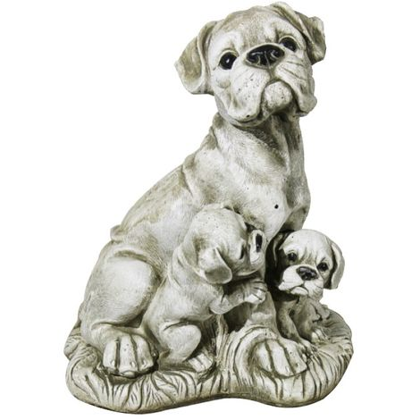 Figura Perros Buldog de hormigón-piedra para jardín o exterior 32cm.