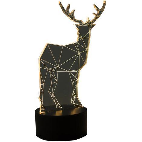 Figura Reno LED, con ilusión 3D, 15.8 x 9.8 x 25.2 cm, acrílico con 4 Bombillas LED cálidas, decoración Ideal para Navidad, 1 Pieza [Clase de eficiencia energética A+++]